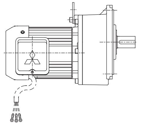 三菱ギヤードモータ GM-D/DPシリーズ 平行軸 三相200V 屋外仕様 GM-DFB 0.4kW 1/3