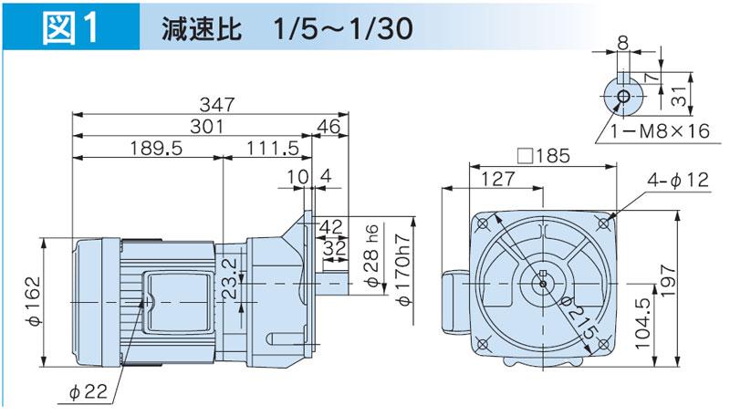 富士変速機ギヤードモータ VX-Eシリーズ 平行軸 三相200V 屋内仕様 VX08-003EMF