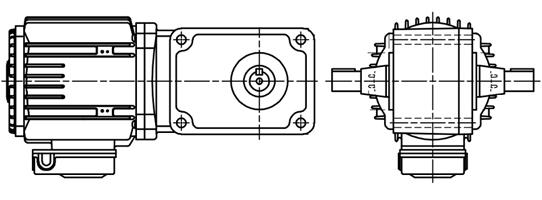富士変速機ギヤードモータ VC-Tシリーズ 直交軸 三相200V 屋内仕様 VC08-007EMT